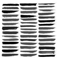 set of brush stroke black ink grunge vector image