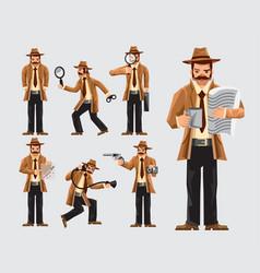 Set of cartoon detective in action vector