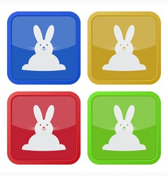 Set of four square icons with easter bunny vector