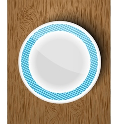 set of white dishes on a wooden vector image