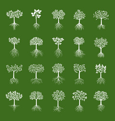 Set white trees vector
