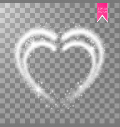 Shiny heart-shaped frame on transparent background vector