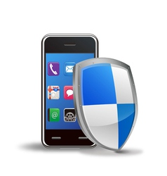 smart phone with protection shield vector image