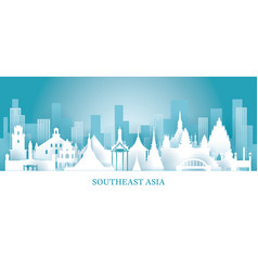 Southeast asia skyline landmarks in paper cutting vector
