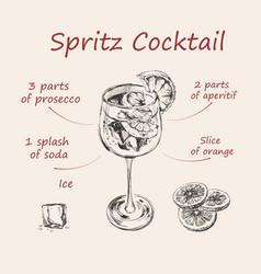 Spritz recipe hand drawn summer cocktail drink vector