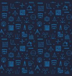 Stem science dark blue linear seamless vector