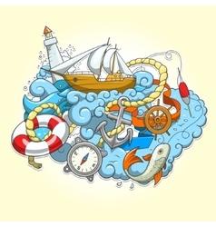 summer sailing abstraction vector image