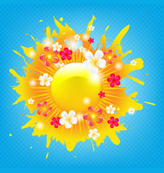 sunburst banner with flowers vector image