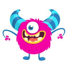 surprised cute cartoon monster vector image
