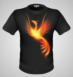 t shirts Black Fire Print man 13 vector image