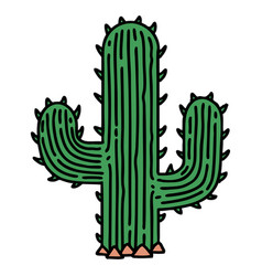 Traditional tattoo a cactus vector