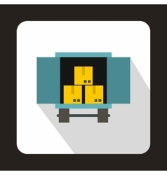 Truck loaded with boxes icon flat style vector image vector image