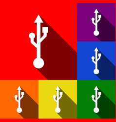 Usb sign set of icons with vector