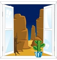 Window in desert vector