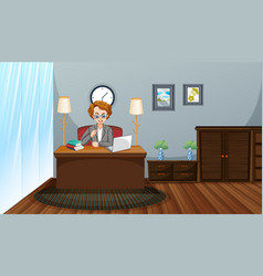 Work from home theme with man working on computer vector
