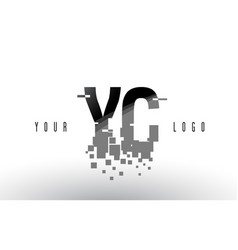 Yc y c pixel letter logo with digital shattered vector