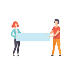 young man and woman holding blank banner vector image