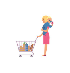 Young woman with baby in hands making purchases in vector