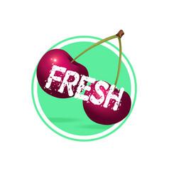 Cherry drink label design berries juice sticker vector