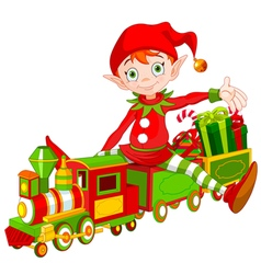 Christmas Elf and Toy Train vector image