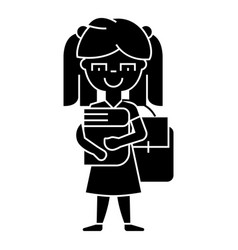 girl in school with book and backpack icon vector image