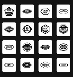 golden labels icons set squares vector image