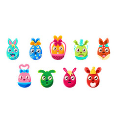Easter egg shaped bunnies colorful girly sticker vector