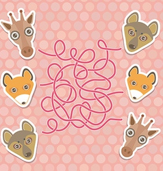 funny giraffe fox wolf labyrinth game for vector image