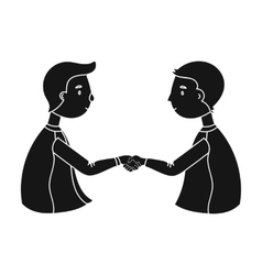Handshaking of businessmen icon in black style vector image