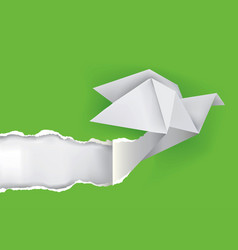 origami dove ripping green paper vector image vector image