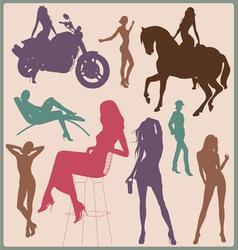 Pretty woman silhouettes vector image