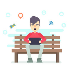 young man sitting in the park on the bench with vector image