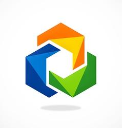 Abstract 2d circle color shape logo vector