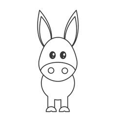 cute donkey cartoon icon vector image