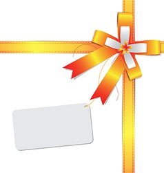 ribbon bow with label vector image vector image