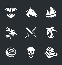 set of piracy icons vector image