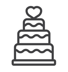 stacked love cake line icon valentines day vector image vector image