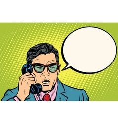 Surprise Businessman talking on the phone vector image