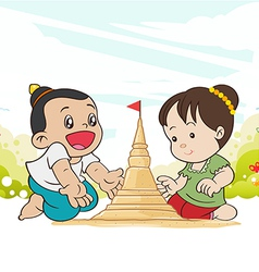 Asia children enjoying building sand vector
