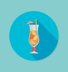 cocktail flat icon with long shadow eps10 vector image vector image