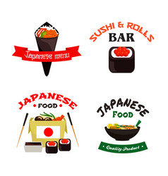 japanese sushi and asian food isolated icon set vector image vector image
