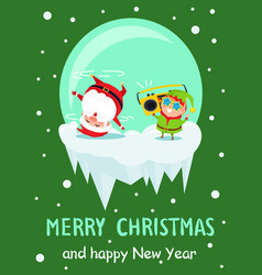 merry christmas new year poster santa dancing elf vector image vector image