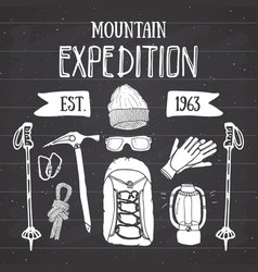 mountain expedition vintage set hand drawn sketch vector image vector image