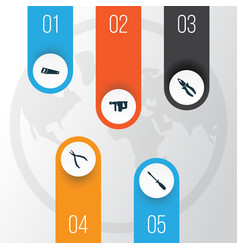 repair icons set collection of turn-screw hammer vector image vector image
