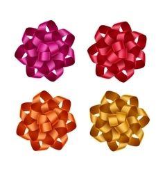 Set of Red Orange Yellow Pink Gift Ribbon Bows vector image vector image