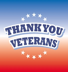 thank you veterans banner on red and blue vector image vector image