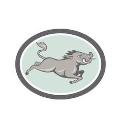 Wild Boar Razorback Jumping Side Cartoon vector image