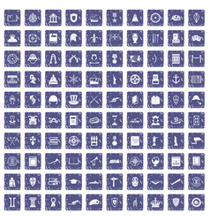 100 history icons set grunge sapphire vector