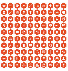 100 south america icons hexagon orange vector image