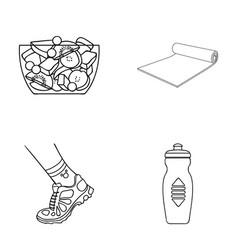 A bowl of fruit salad a mat a sneaker on the leg vector